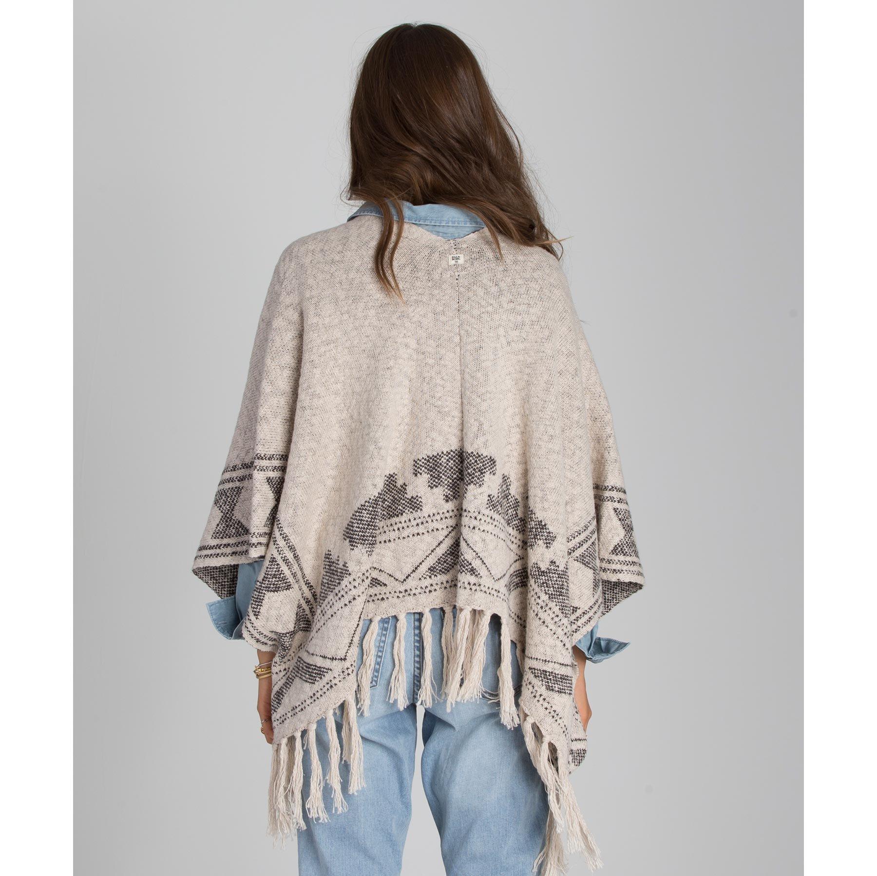 Billabong Juniors Desert Voyage Poncho Jacquard Sweater, White Cap, Medium/Large by Billabong (Image #4)