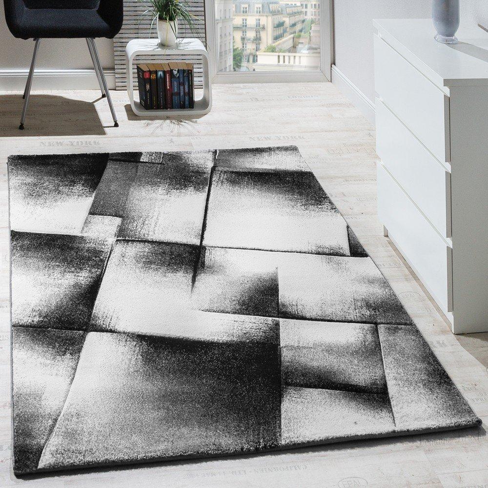 Paco Home Designer Teppich Modern Wohnzimmer Teppiche Kurzflor Meliert Grau Creme Schwarz, Grösse:200x280 cm