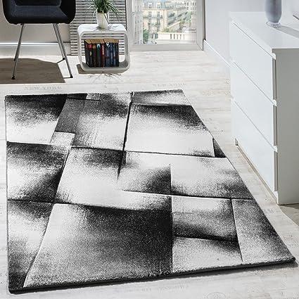 Tappeto di Design per Soggiorno Moderno Tappeti A Pelo Corto mélange Grigio  Crema Nero, Dimensione:60x100 cm