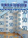 5ft Hanging Glitz Blue 50th Birthday Decorations, Pack of 6