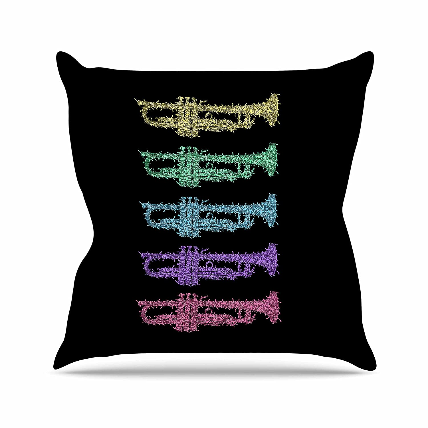 Kess InHouse BarmalisiRTB Trumpet Arch Multicolor Music Throw Pillow 20 by 20