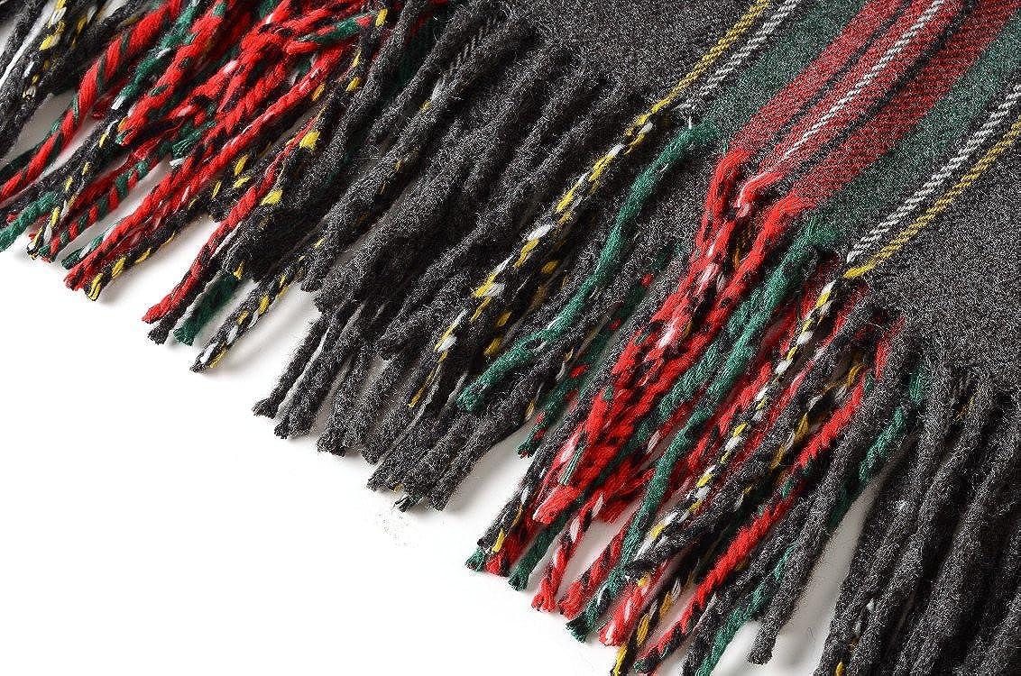 Grande e lussuosa sciarpa scialle con motivo scozzese a quadri