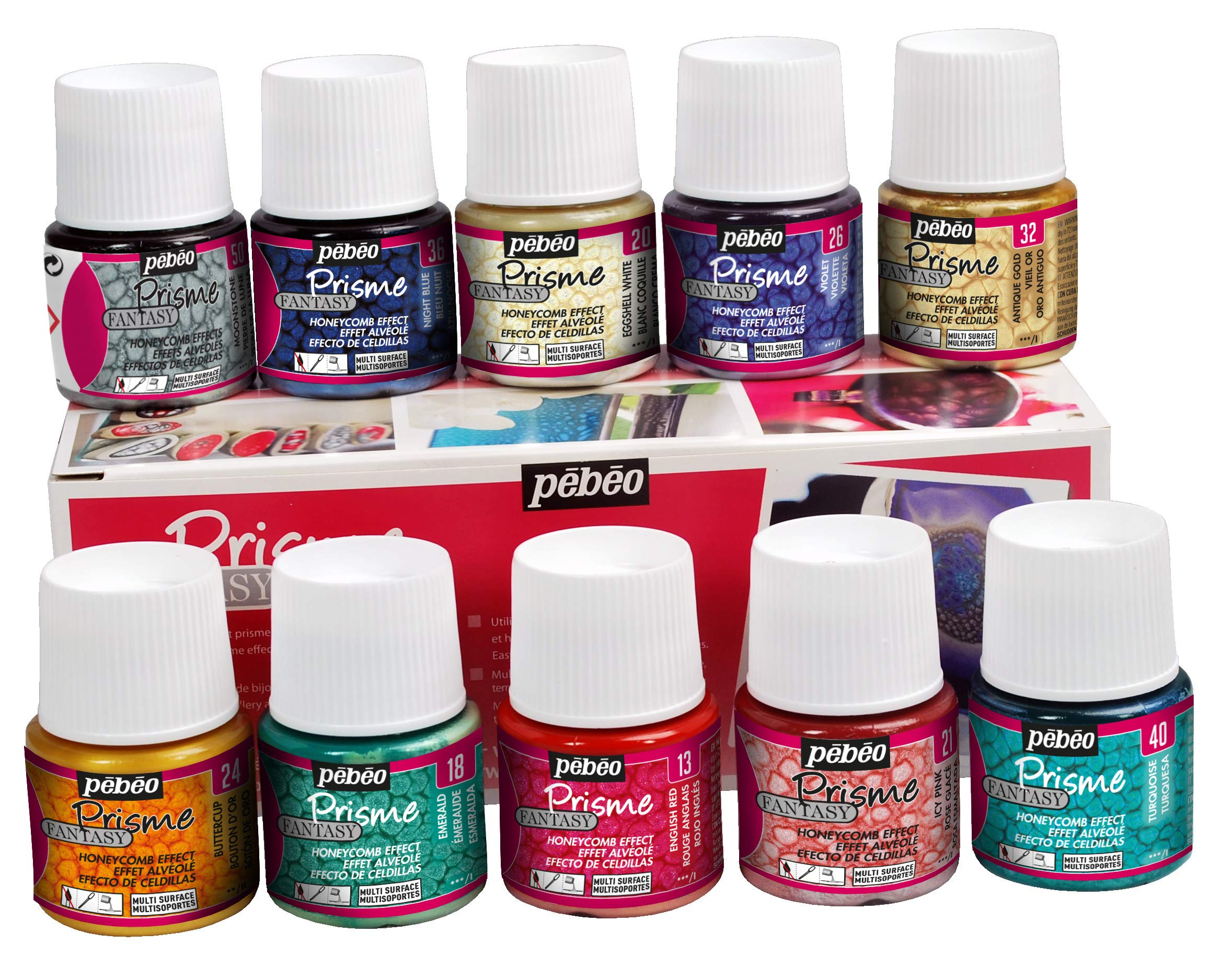 Pebeo Fantasy Prisme, Set of 10 Assorted 45 ml Bottles by PEBEO