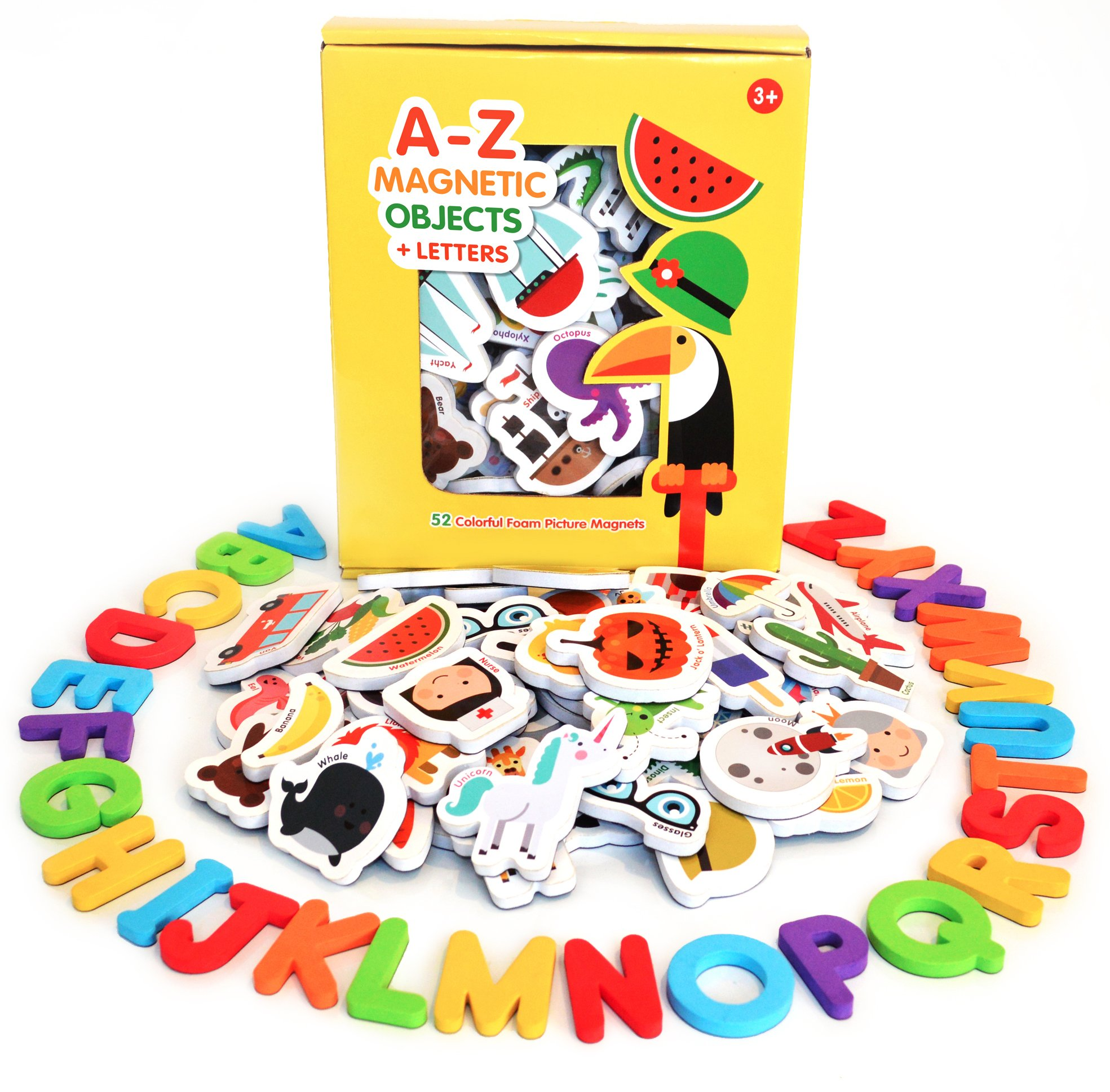 Curious Columbus Magnetic Objects and Letters. Set of 78 Foam Magnets Including 52 Pictures and 26 Uppercase Alphabet Magnets from A-Z. Best Educational Toy for Preschool Learning by Curious Columbus