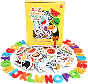 Curious Columbus Magnetic Objects and Letters Set of 52 Foam Picture Magnets, Plus 26 Uppercase Alphabet Magnets from A-Z. Best Educational Toy for Preschool Learning