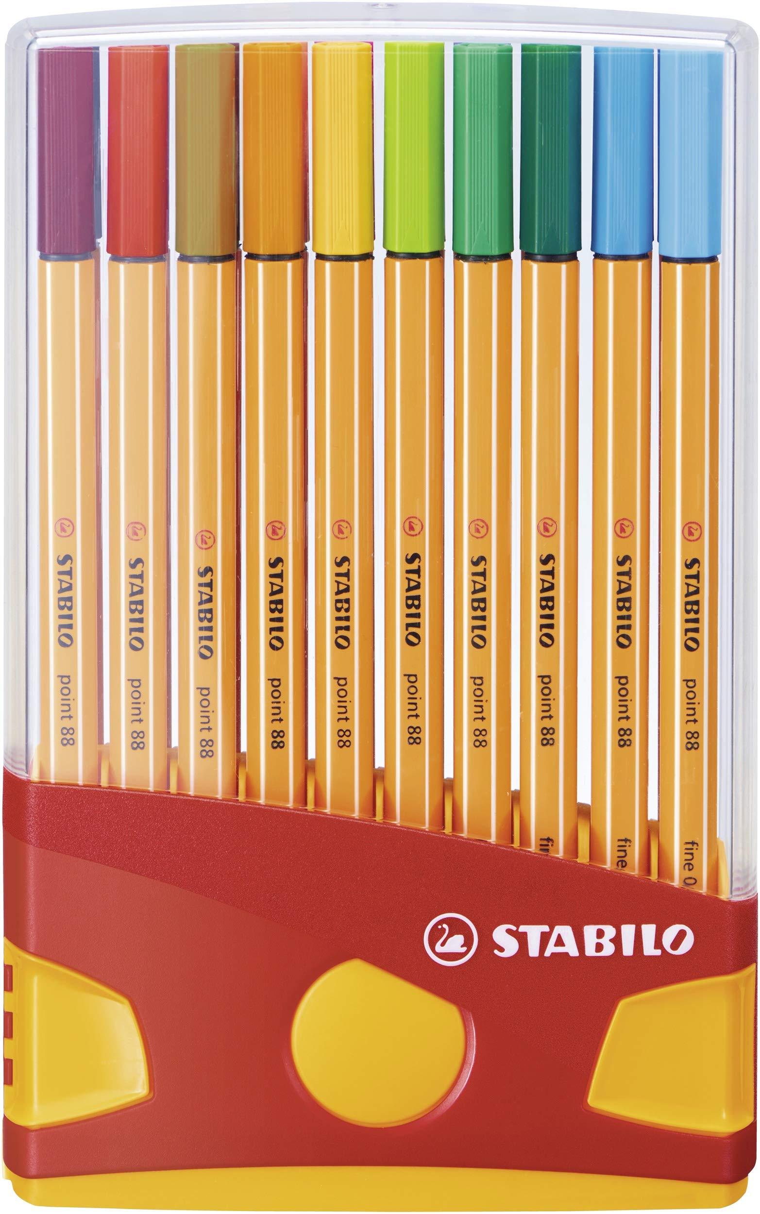 Stabilo Point 88 Fineliner Pens, 0.4 mm - 20-Color Plastic Case Set by STABILO