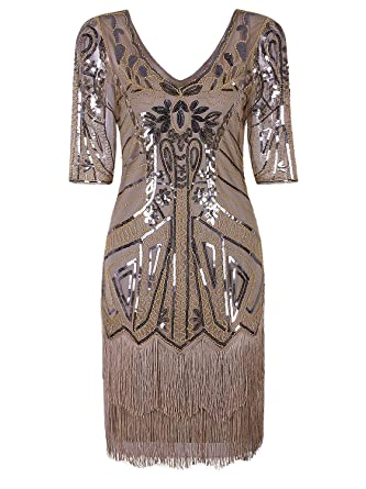 2ea2a495734 Vijiv Women s 1920s Flapper Dress V Neck Beaded Art Deco Tassel Cocktail  Dresses with Sleeves at Amazon Women s Clothing store