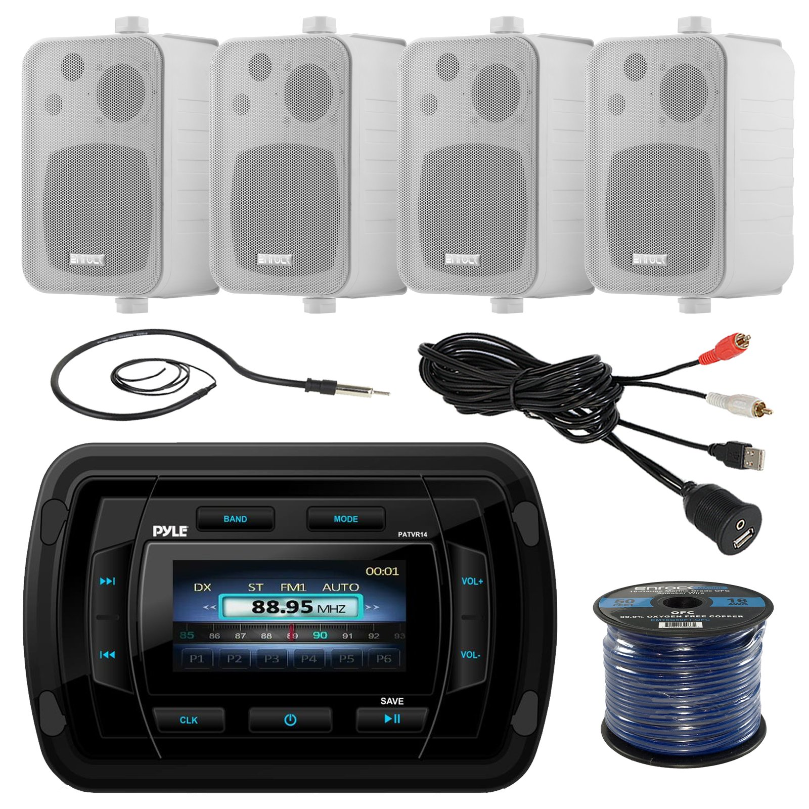Pyle PATVR14 MP3/MP5 Bluetooth Marine Boat Yacht Stereo Receiver Bundle Combo with 4X Enrock White 4'' 200-Watt Waterproof Stereo Box Speaker + Radio Antenna + USB/AUX to RCA Cable + 16G 50-FT Wire