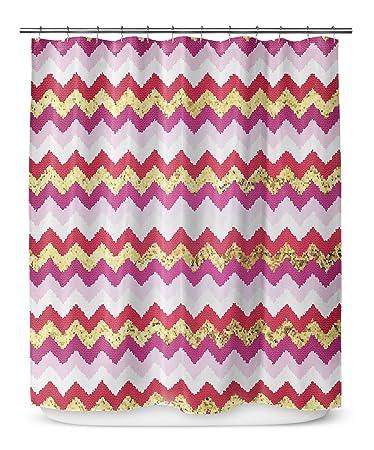 KAVKA Designs Valentine Chevron Shower Curtain, (Gold/Pink/Red/Purple)