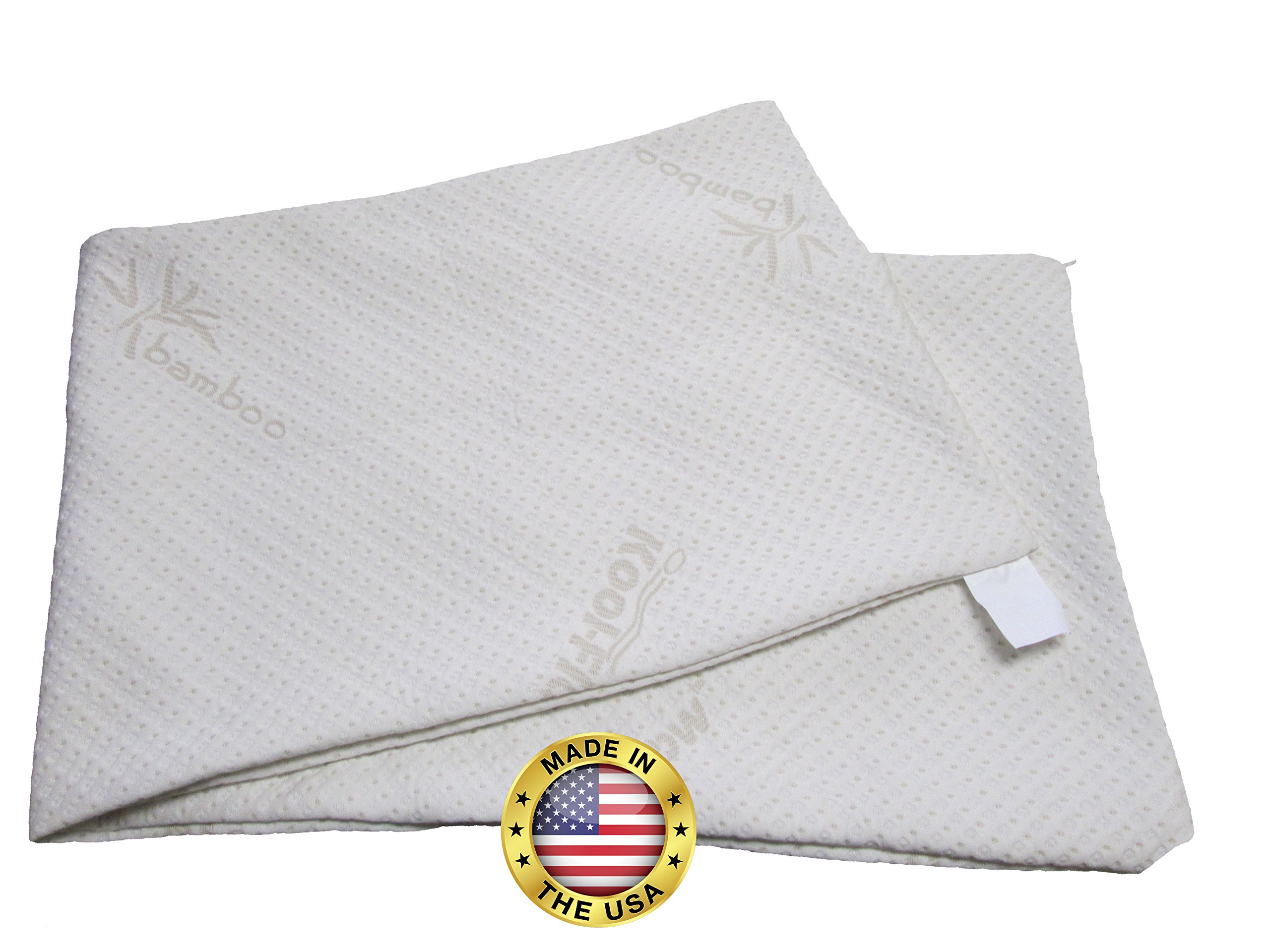 Snuggle-Pedic Zipper Removable Body Pillow Cover Kool-Flow Luxurious Bamboo Material - All USA Made (54 x 20 inch)