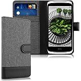 kwmobile Hülle für HTC Desire 526G - Wallet Case Handy Schutzhülle Kunstleder - Handycover Klapphülle mit Kartenfach und Ständer Grau Schwarz