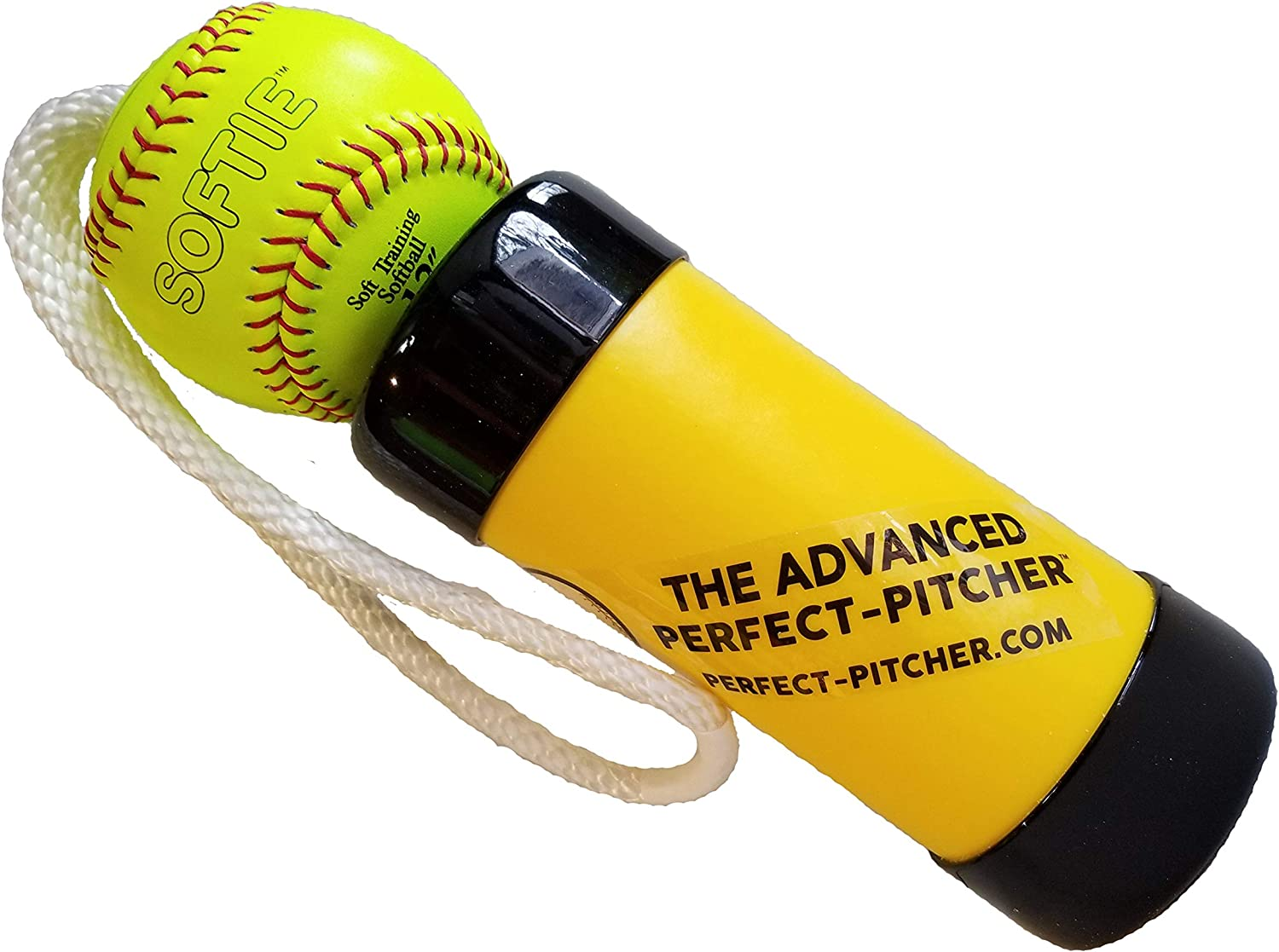 The Advanced Perfect Pitcher Fastpitch Softball Pitching Trainer and Warm Up Tool with 12 Inch Premium Leather Indoor Ball for Improved Grip
