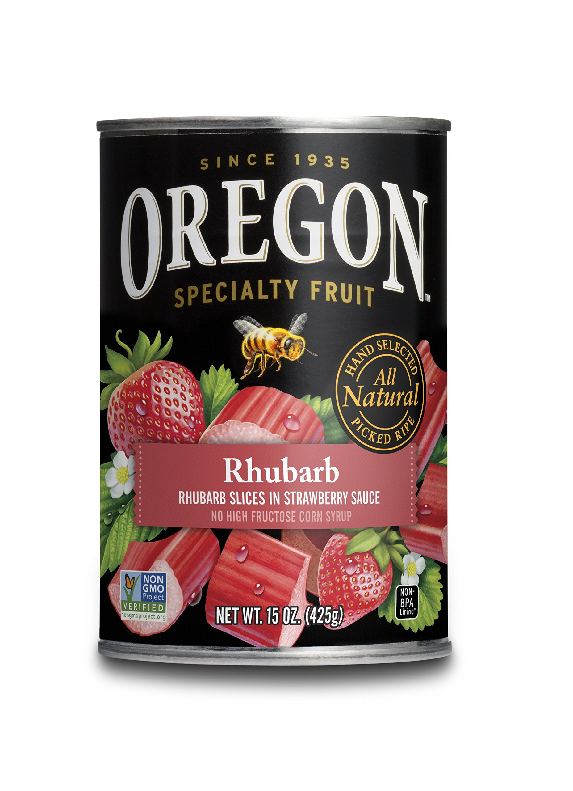 Oregon Fruit Rhubarb in Strawberry Sauce, 15 Ounce (Pack of 4) by Oregon (Image #1)
