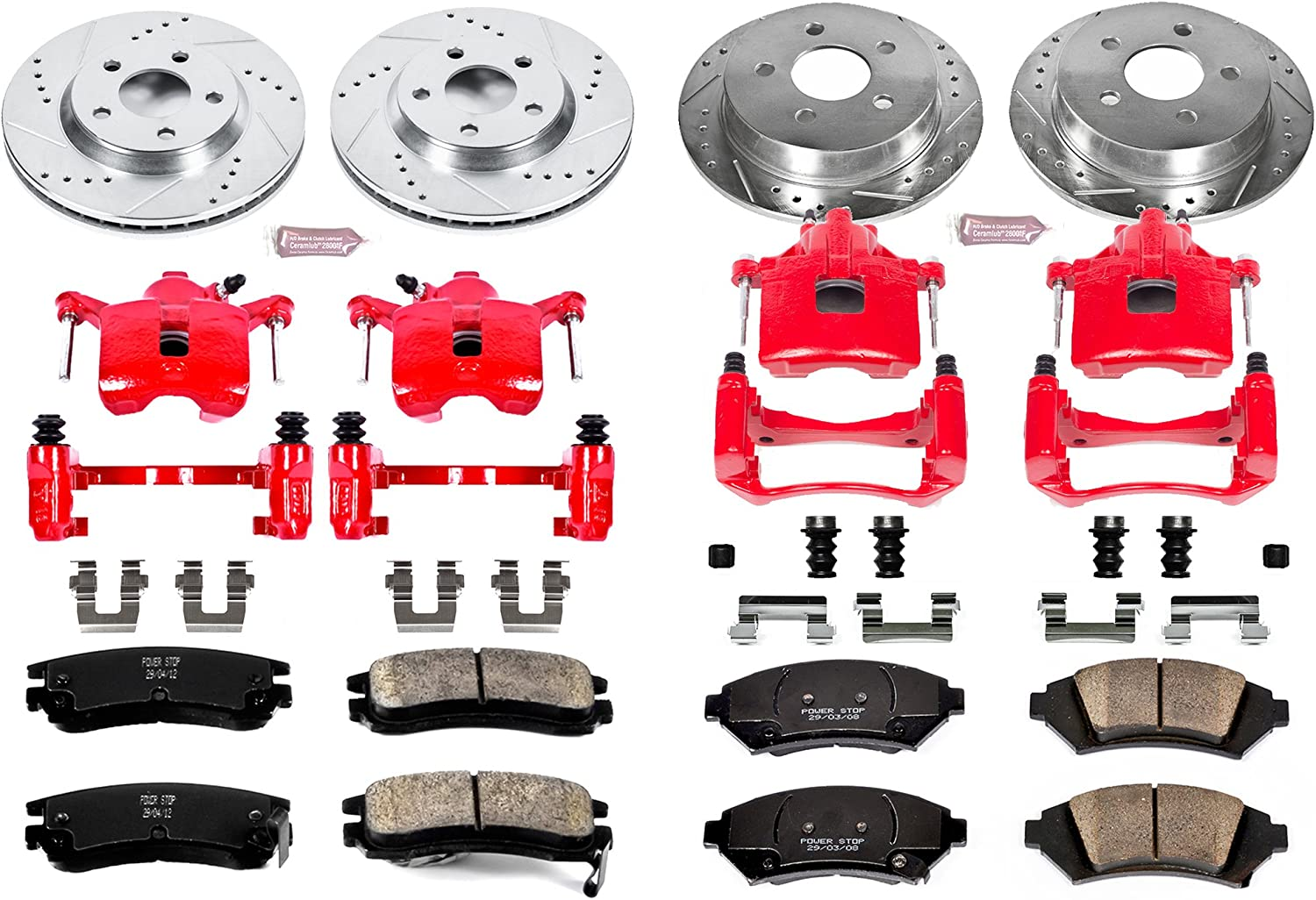 Brake Pads, Drilled//Slotted Rotors Power Stop KC5564 Z23 Evolution Sport 1-Click Brake Kit with Powder Coated Calipers
