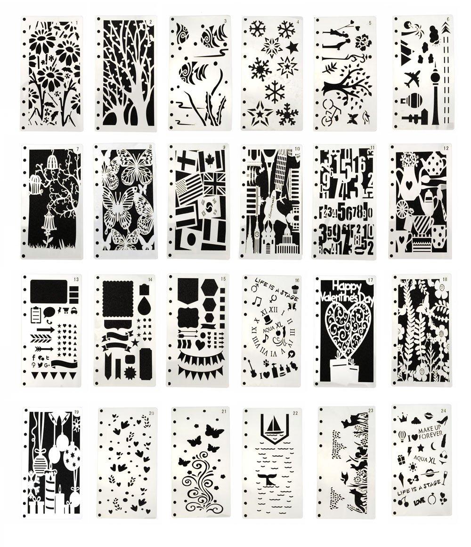 Hyamass 24pcs 8 Holes A6 Journal Stencils Planner Notebook Diary Scrapbook DIY Drawing Template Stencils