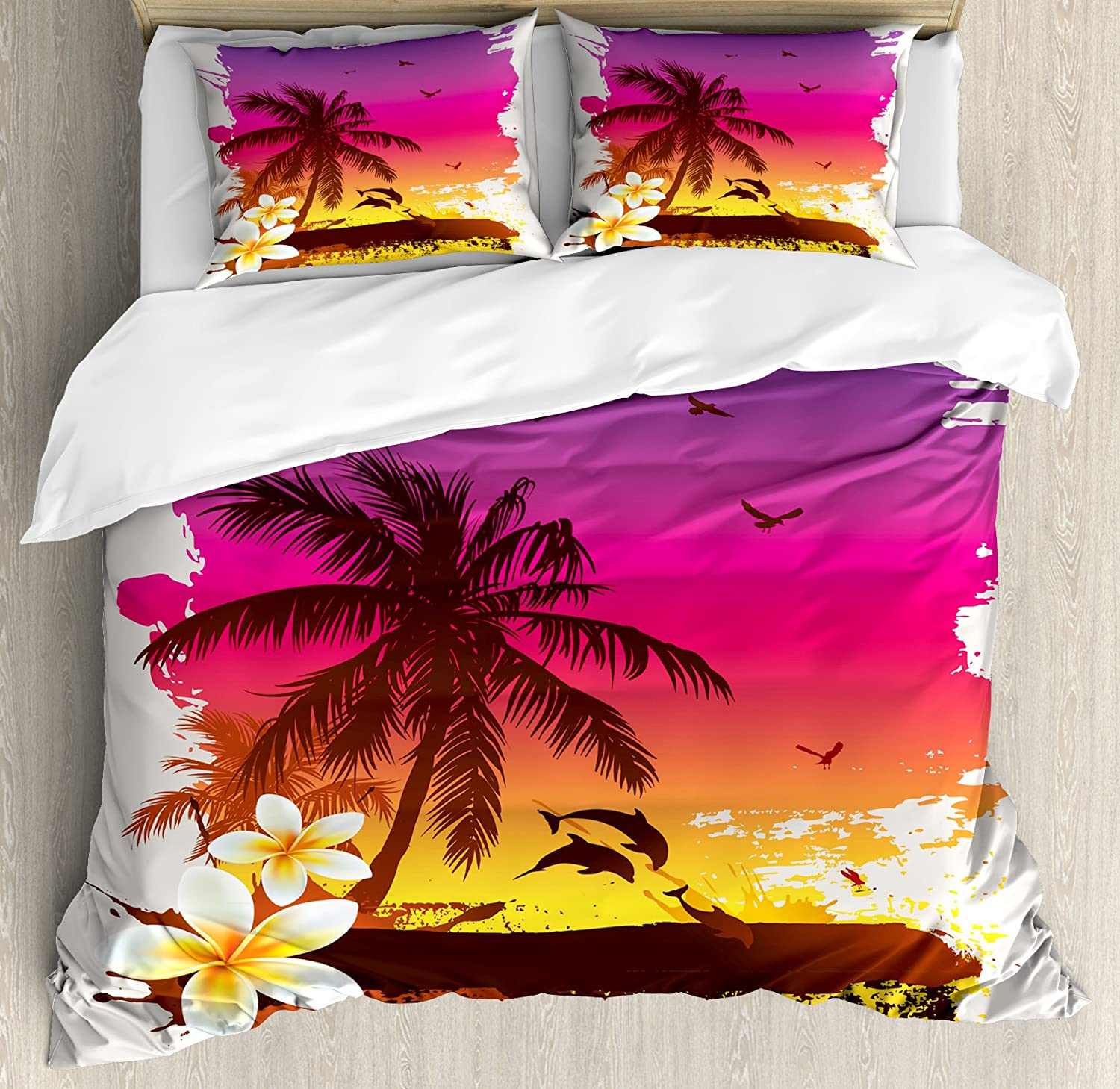 Ambesonne Luau Duvet Cover Set, Tropical Retro Sunset Palm Trees Jumping Dolphins on The Beach Scenery Illustration, Decorative 3 Piece Bedding Set with 2 Pillow Shams, Queen Size, Yellow Magenta