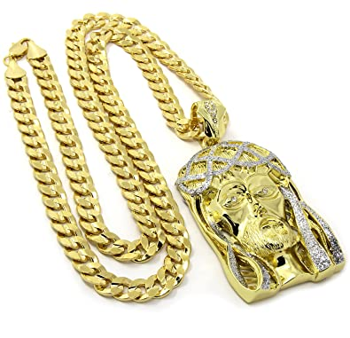 0403f3606be Image Unavailable. Image not available for. Color  Mens 14k Gold Plated Iced  Jesus Face Pendant Hip Hop 30 quot  Cuban Necklace ...
