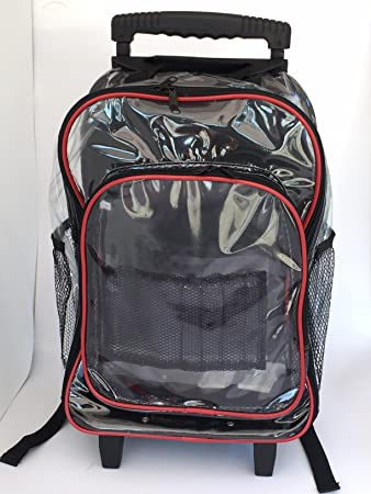 Amazon.com : Clear Rolling Backpack With Red Trim Transparent ...