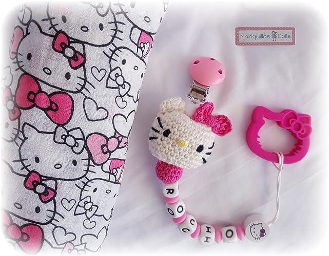 OFERTA!!!PACK Hello KITTY CHUPETERO Crochet Personalizado + ...