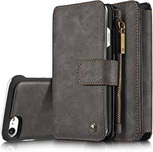 iPhone 6S Wallet Case,XRPOW Detachable Wallet Purse Magnetic Slim Cover PU Leather Protective Shell Case with 14 Card Slot Zipper Pocket Kickstand for Apple iPhone 6/6S 4.7inch Black