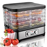 Meykey Food Dehydrator with Temperature Controller 35-70°C, Fruit-Meat Dryer, Digital Dehydrator, BPA-Free, 250W / Button