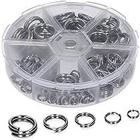 Zite Sprengringe Angeln Sortiment - 150 Split-Ringe Edelstahl - Diverse Größen im Set in Spender-Box