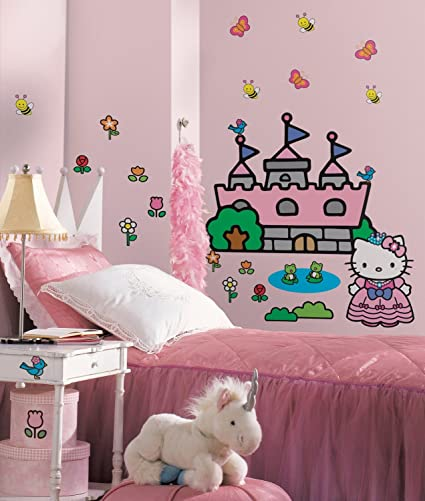Amazon Com Hello Kitty Princess Castle Peel And Stick Giant Wall