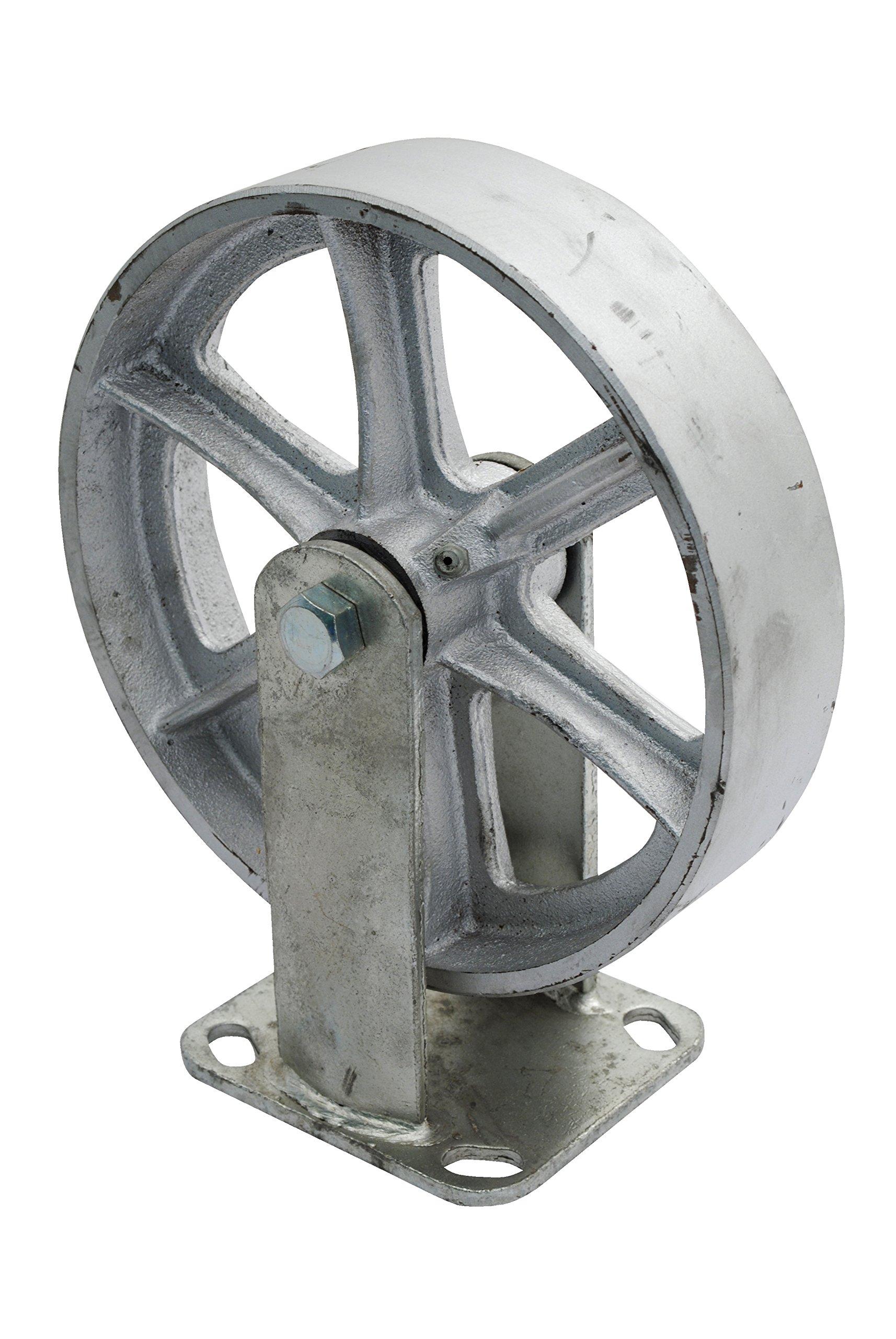 Vestil CST-SS-8/2-R Steel Rigid Caster, 1250 lb Capacity, 2'' Width, 9.50'' Height, 8'' Diameter