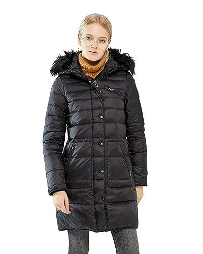 Abrigo largo negro acolchado con capucha de pelo de Vero Moda