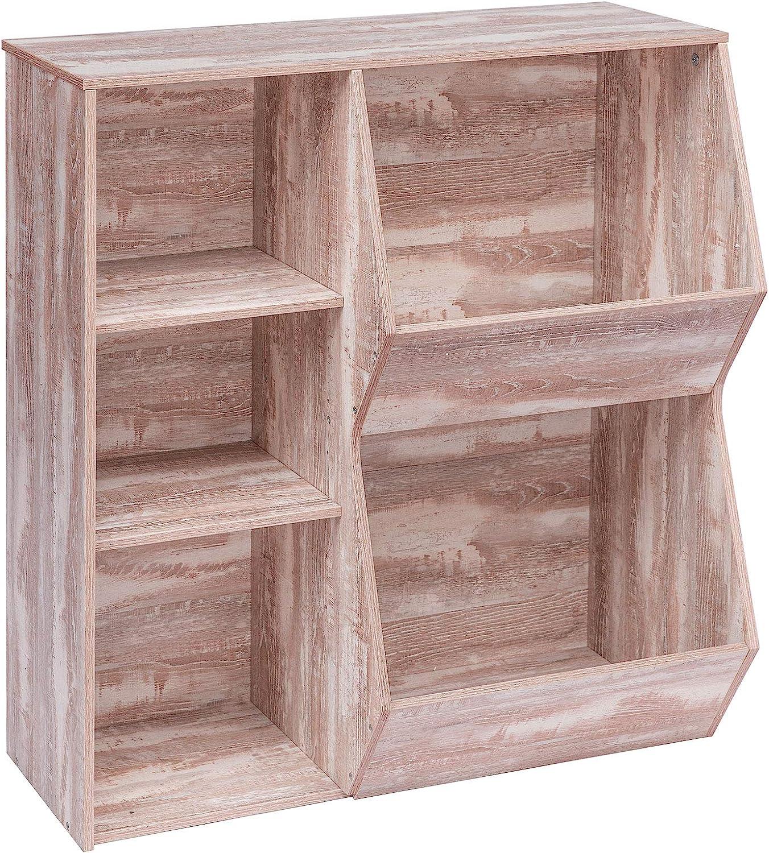 HOOBRO Kids Bookshelf, Bookcase Footboard, Multi-Bin Storage Cubby, Tilting Toy Storage Cabinet, Children's Toy Shelf, Suitable for Children's Room, Playroom, Hallway, Oak White XM31CW01