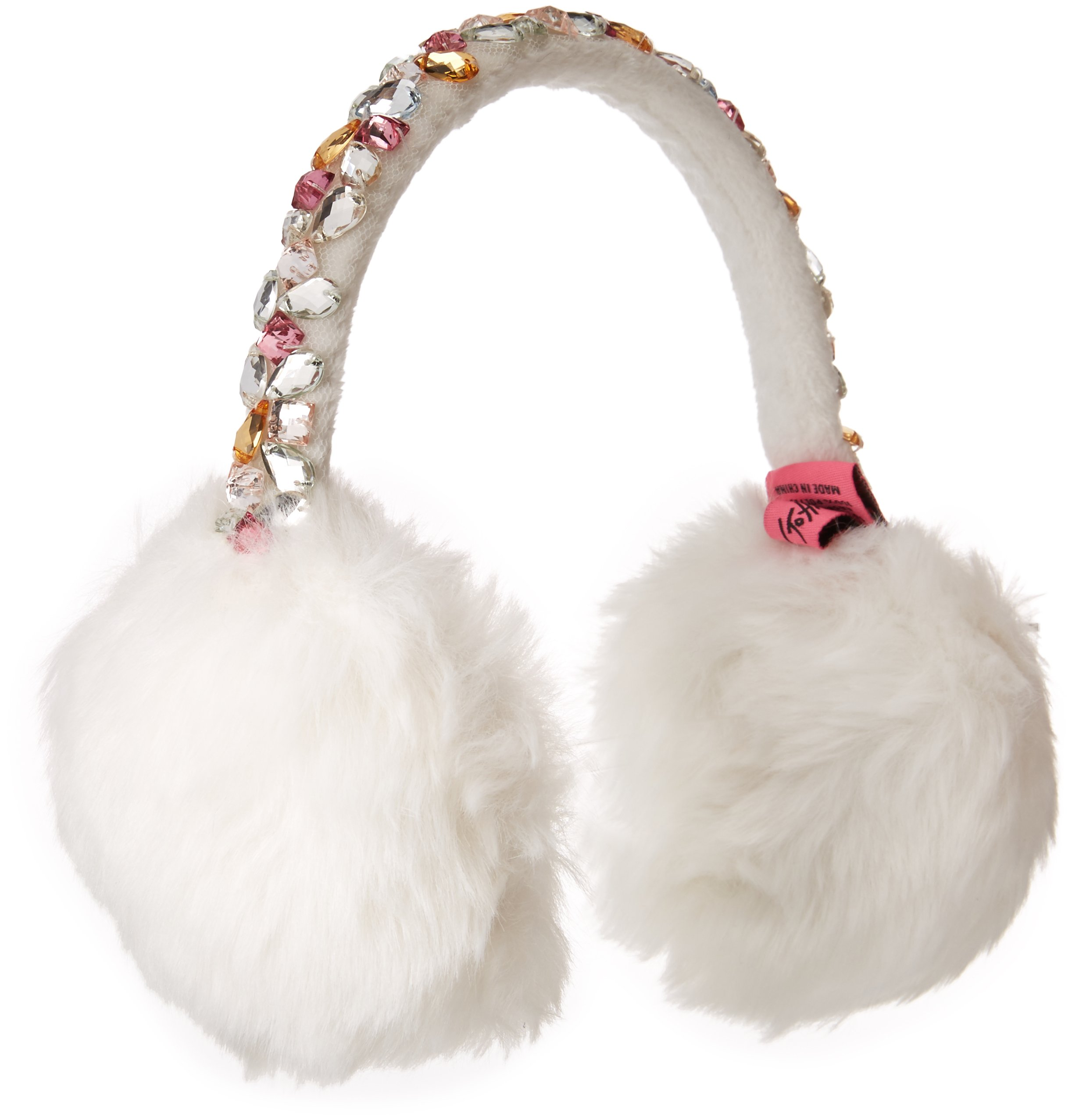 Betsey Johnson Women's Bejeweled Faux Fur Earmuff, Ivory, ONE SIZE