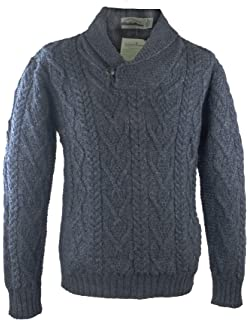 100 Irish Merino Wool Traditional Button Neck Aran Sweater By West