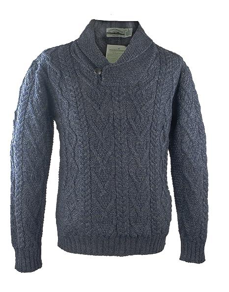 West End Knitwear 100% irlandés de lana Merino cuello Aran ...