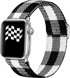 Ouwegaga Adjustable Elastic Bands Compatible for Apple Watch Band 38mm 40mm iWatch SE and Series 6 5 4 3 2 1 Fashion Cute Soft Stretchy Loop Woven Fabric Wristband for Women Men Black White Grid