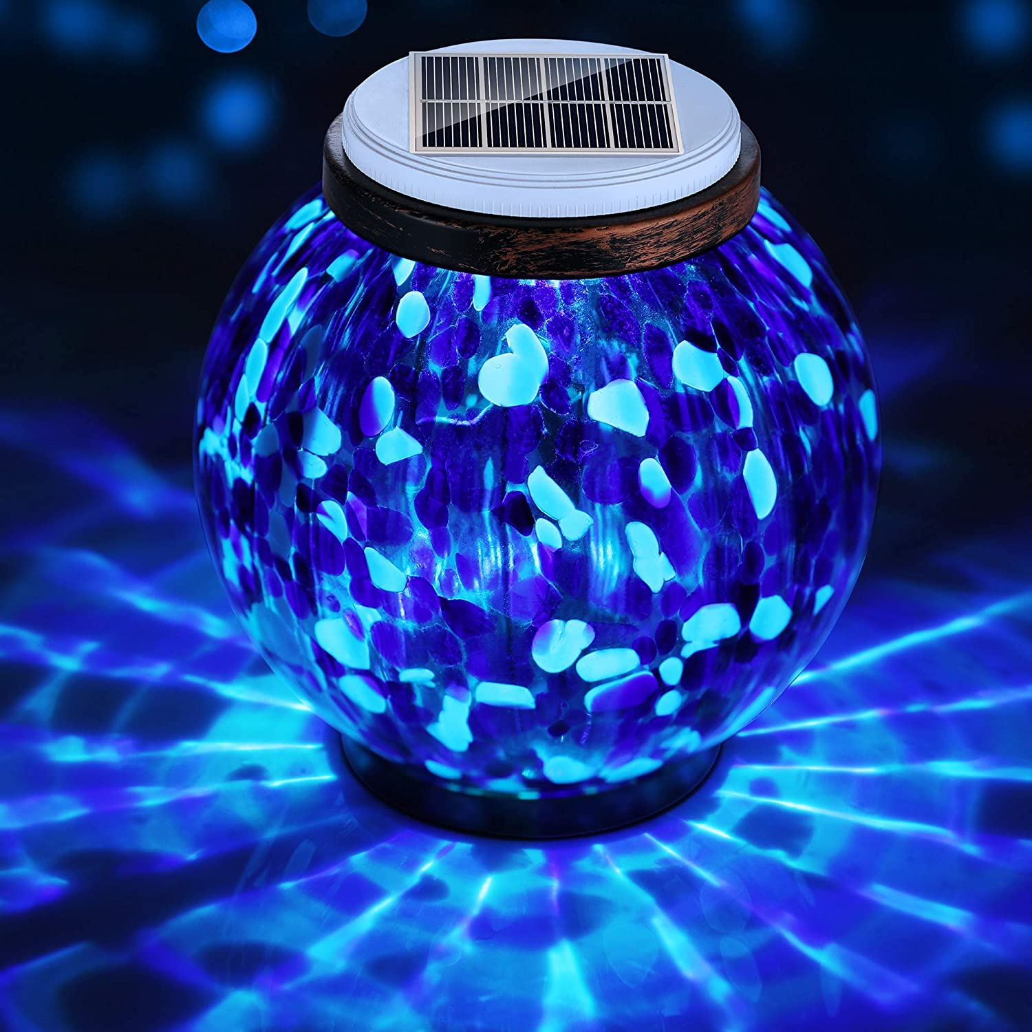 Pandawill Mosaic Solar Glass Garden Light, Rechargeable Outdoor Hanging Light Metal Decorative Ball Light, Waterproof LED Table Lamp Waterproof Night Light for Patio, Countryyard, Bedroom Party