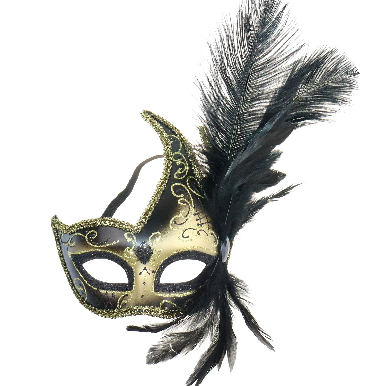 Venetian Fancy Dress Mask Fluff Feather Diamond Lace for Party Ball Masks FBG001