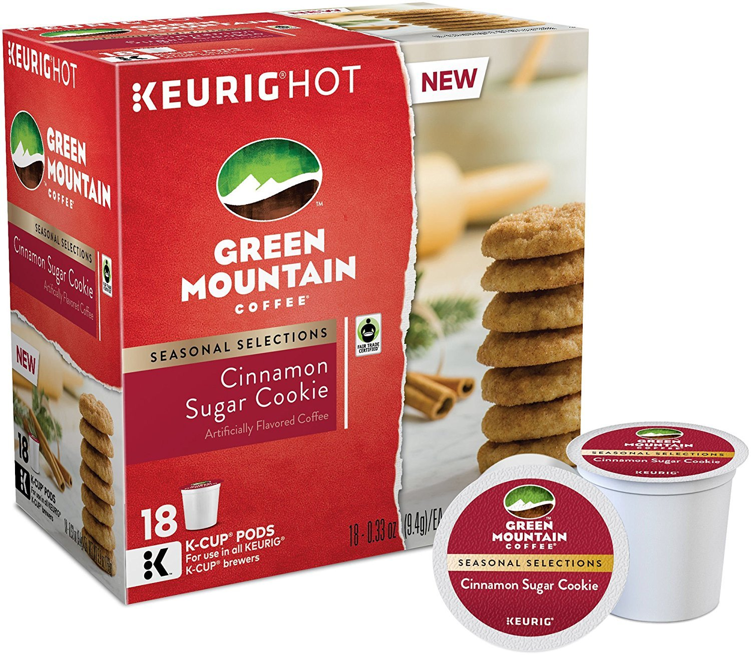Green Mountain Coffee, Cinnamon Sugar Cookie, K-Cups for Keurig Brewers, 18 Count (Pack of 6)