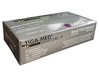 Nitrilhandschuhe puderfrei schwarz Tiga Black 100 Stück Größe Large ohne Latex Einmalhandschuhe Nitril Einweg- Handschuhe Tig