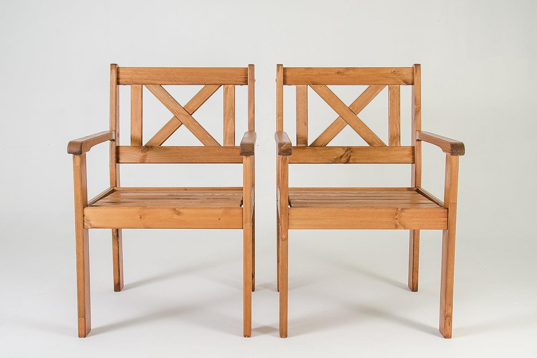 Ambientehome Java Exclusiv EVJE - Juego de 2 sillas de Jardín, Madera Maciza, Color Marrón: Amazon.es: Jardín