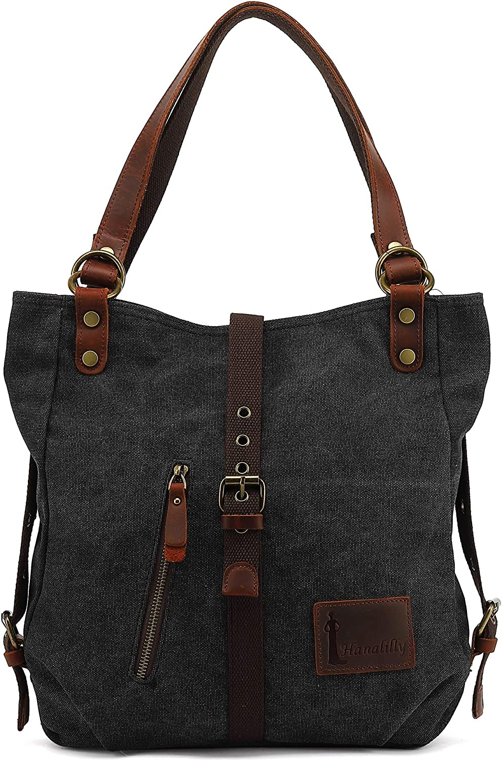 Hanalilly Convertible Backpack Purse Genuine Leather Canvas, Handbag Shoulder Bag Tote Casual & Fashion School Bag for Women