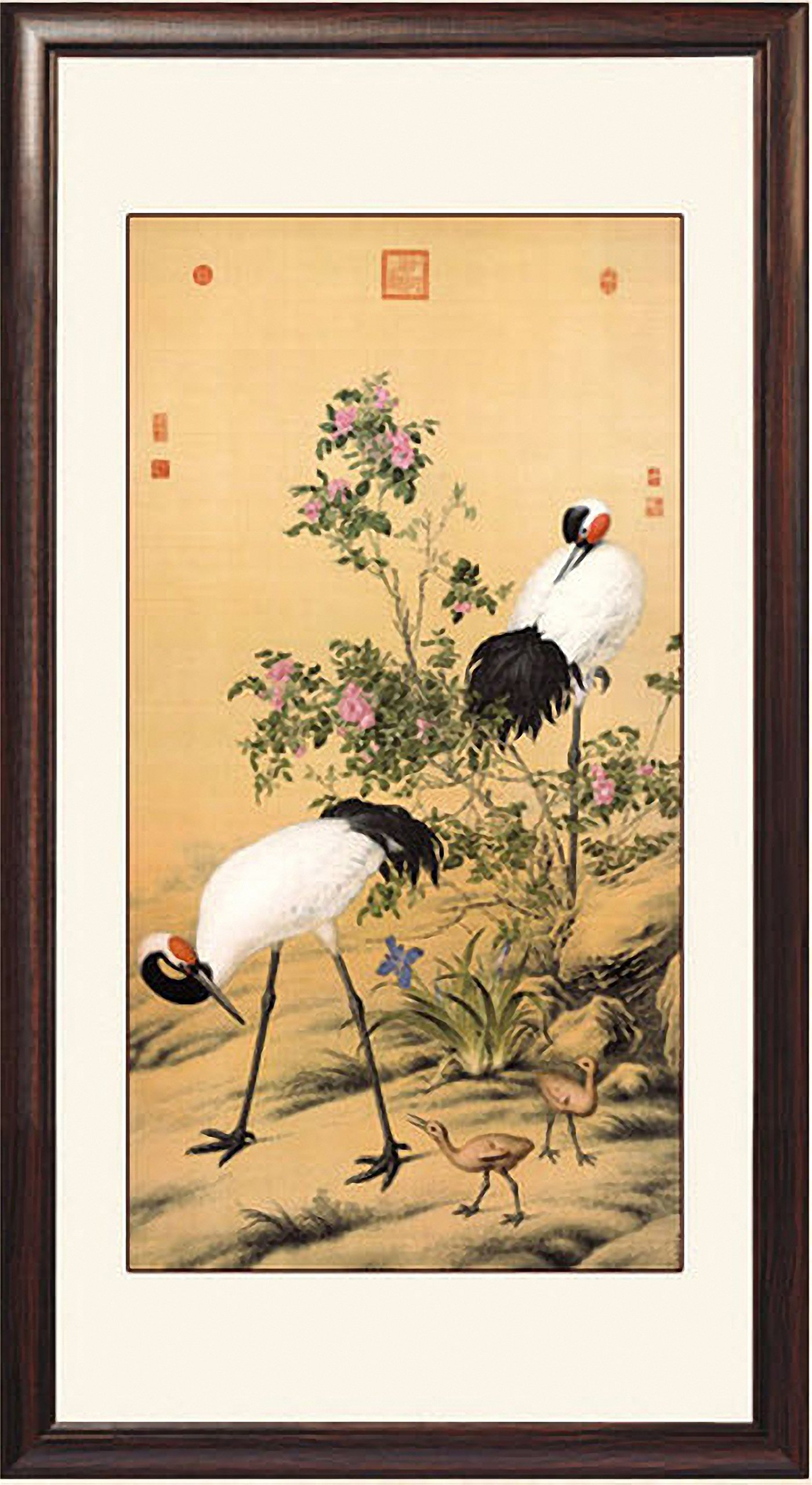 INK WASH Framed Chinese Art Prints Collection Wall Art and Decor Asian Animals Crane on Rice Paper Feng Shui for Living Room and Bedroom Ready to Hang