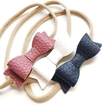 baby Headband Navy leather Bow Nylon Headband hair accessories bows kids girls bows leather headband