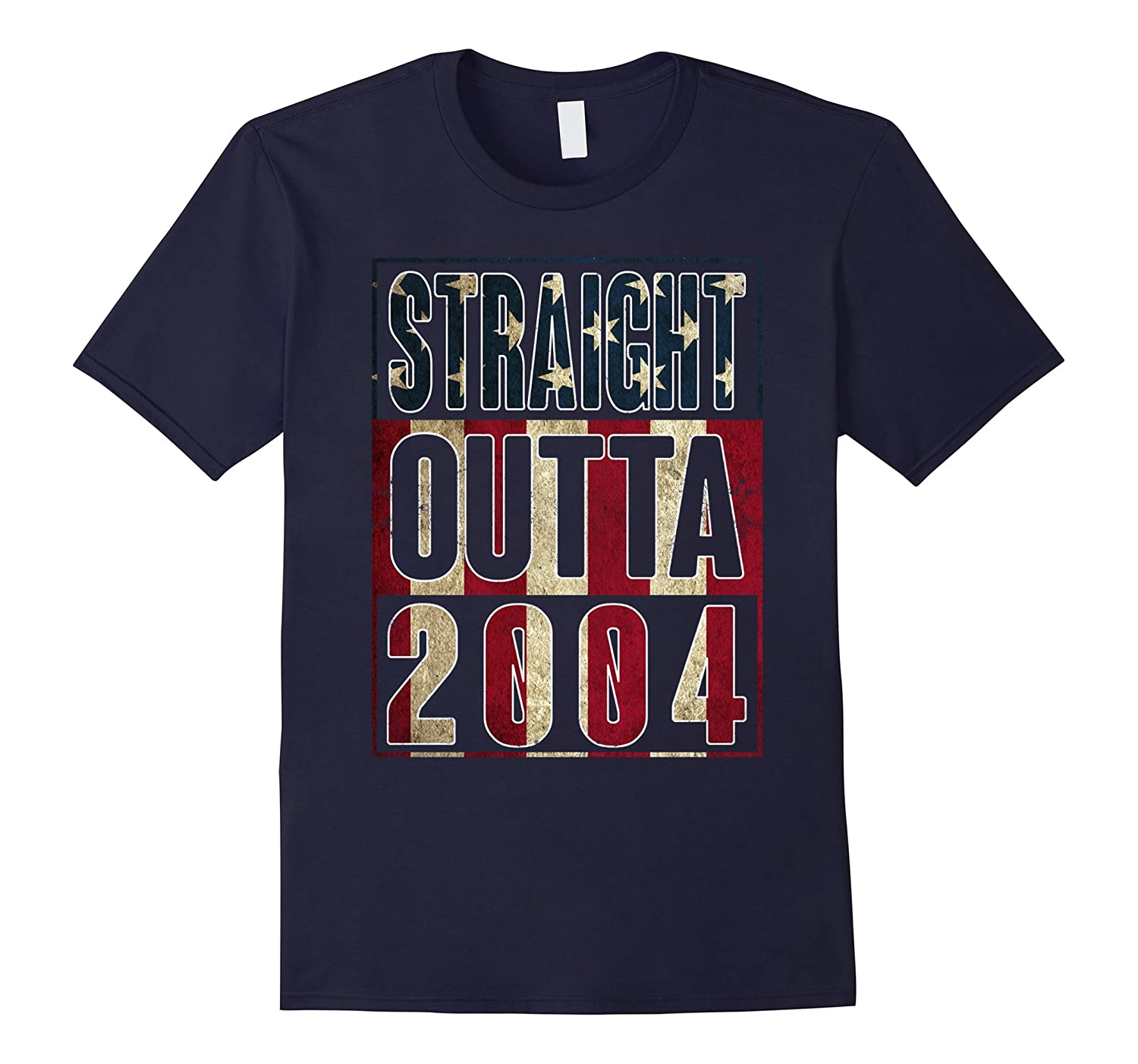 13th Birthday Straight outta 2004 American flag T Shirt-TH