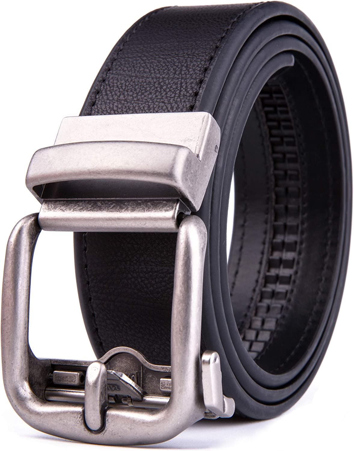 Men's Slide Ratchet and Reversible Belt, Handcrafted Leather, Trim to Fit