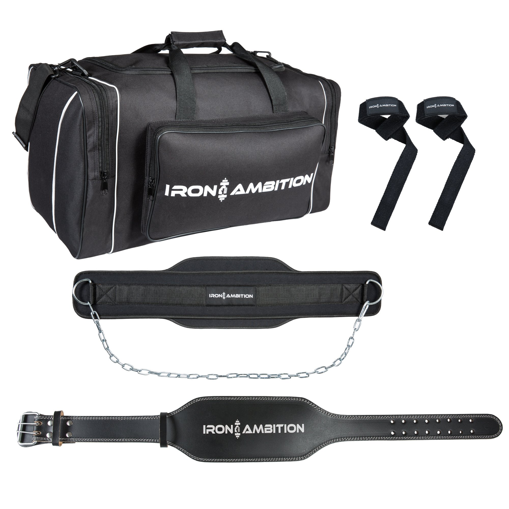 Ultimate Muscle Builder's Gym Bag Bundle By Iron Ambition [4 Items]: Sport Duffel Bag, Powerlifting Belt, Dip Belt &Wrist Straps | Perfect For Crossfit, Weightlifting, Home Workouts & Bodybuilding by Iron Ambition