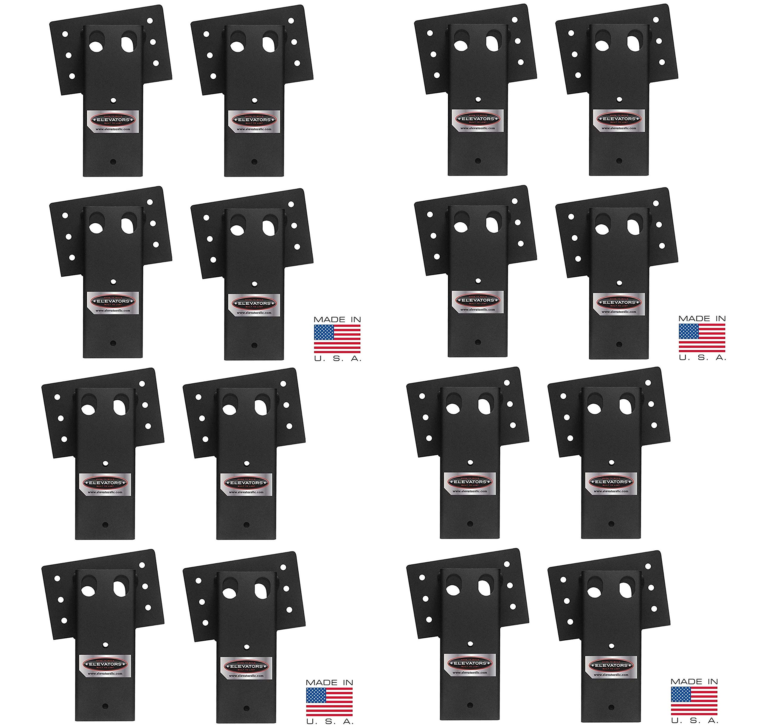 Elevators 4x4 Brackets for Deer Blinds, Playhouses, Swing Sets, Tree Houses. Made in The USA with Premium Construction Grade Steel (4 X Pack of 4)