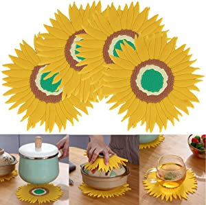 Set of 4 Silicone Trivet Sunflower Hot Pot Holder Anti-Slip Cup Coasters Bowl Tableware Mat Heat Resistant Pans Pads for Countertop Kichen
