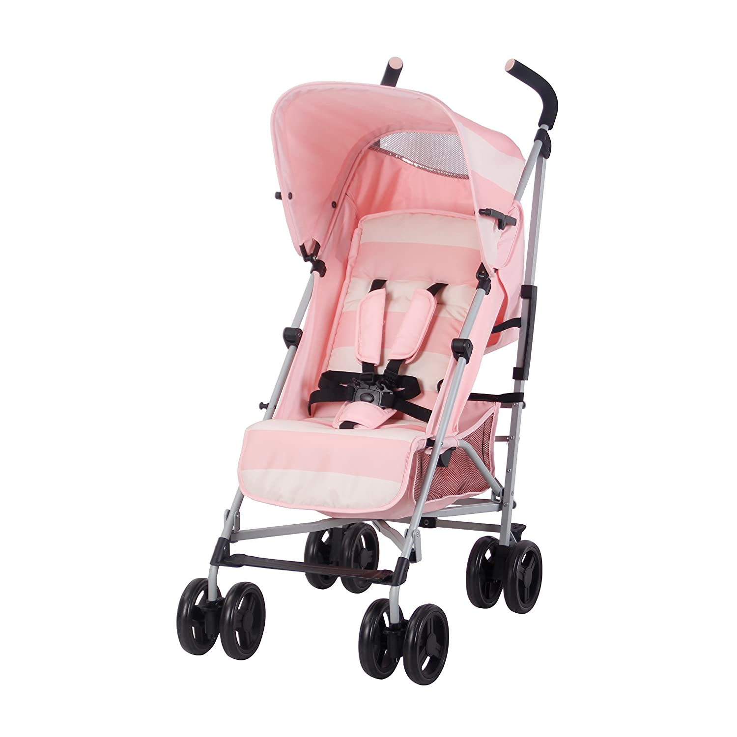 My Babiie US01 Pink Stripes Baby Stroller Lightweight Travel Stroller Lightweight Baby Stroller with Carry Handle Suitable from Birth to 33 lbs Silver Frame and Pink Stripes
