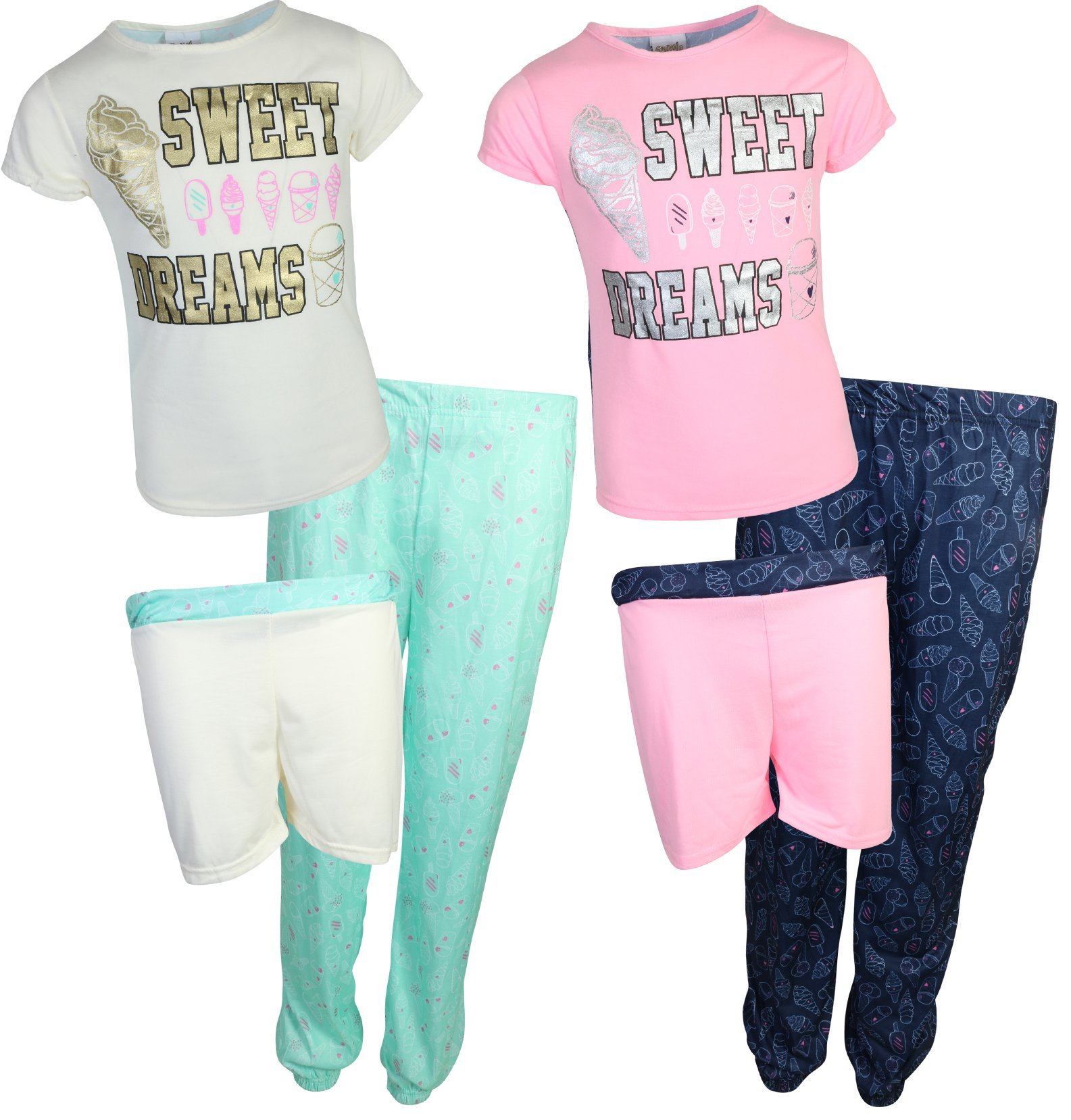 'Sweet & Sassy Girls 6 Piece Mix & Match Pajama Set (2 Tops, 2 Shorts and 2 Pants) Sweet Dreams, Size 14/16'