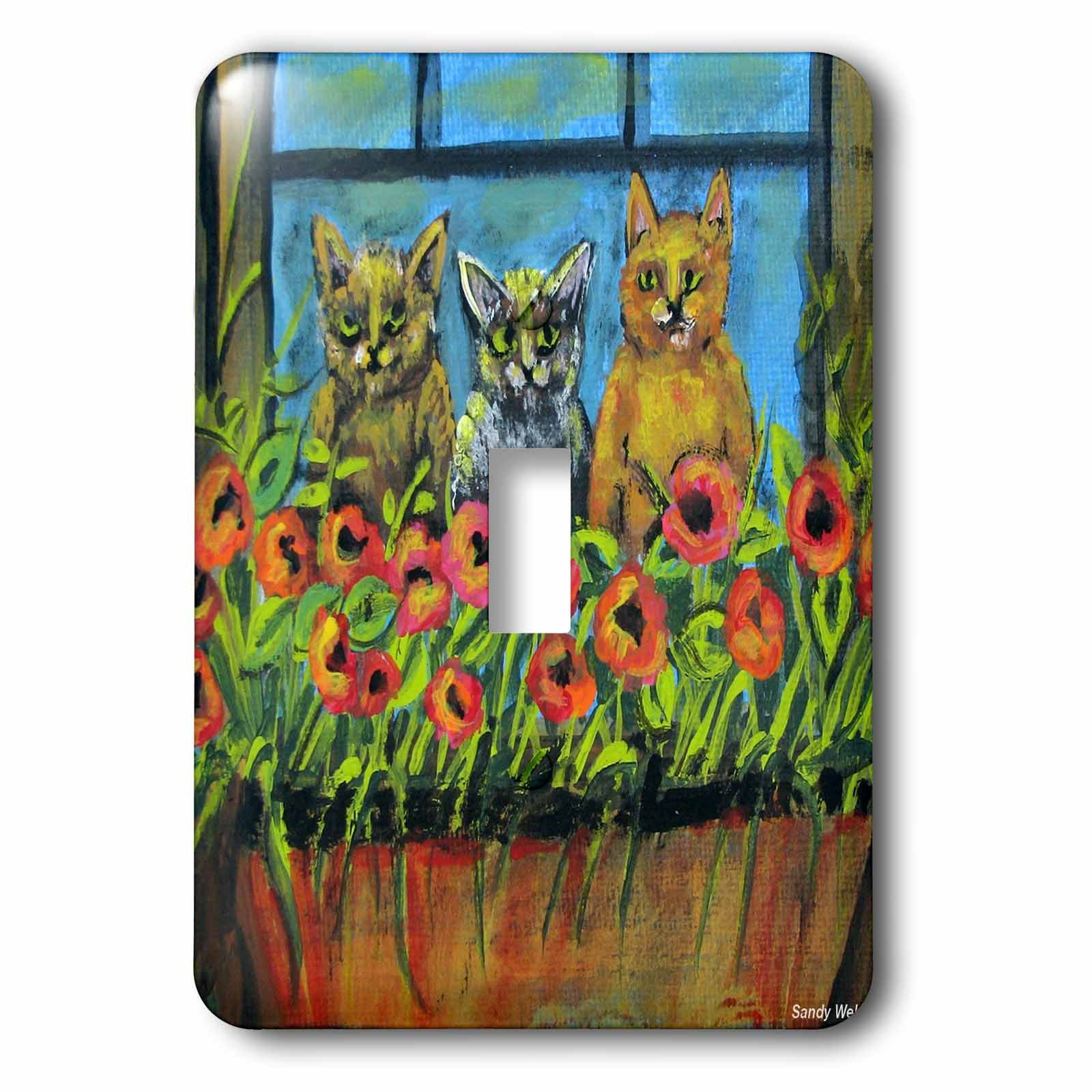 3dRose LLC lsp_66347_1 Window Watchers, 3 Silly Cats Peek Through Red Flowers Single Toggle Switch